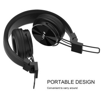 NIA-X3 Bluetooth Stereo Headset with Shinning Surface tf Card Slotand FM Radio Function (Black) with Free LC 1m Woven Style MetalHead 3 in 1 Charger Cable For Android phone/Iphone and Ipad (Gold) - 4