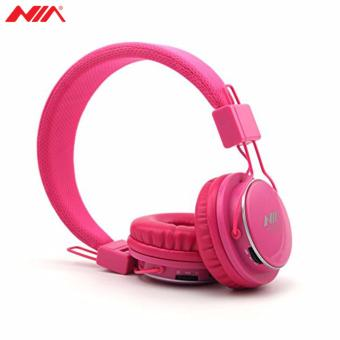 NIA X3 Superb Sound Foldable 108dB 4-in-1 Wireless BluetoothHeadset with FM Radio and TF/AUX Slot (Pink) - 2