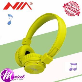 Nia X3 Superb-Sound Heavy-Duty 4-in-1 Wireless BluetoothOver-the-Ear Stereo Headset with Mic/FM Radio/TF Slot (Lime Green)