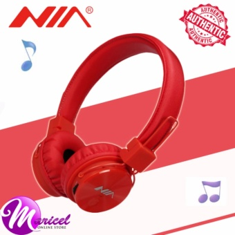 Nia X3 Superb-Sound Heavy-Duty 4-in-1 Wireless BluetoothOver-the-Ear Stereo Headset with Mic/FM Radio/TF Slot (Red)