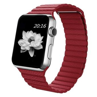 niceEshop 42mm Genuine Leather Loop With Magnet Lock StrapReplacement Band For Apple Watch (Red) - intl