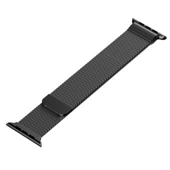... niceEshop 42mm Milanese Magnetic Loop Stainless Watch Band StrapLeather Loop For Apple Watch (Black) ...