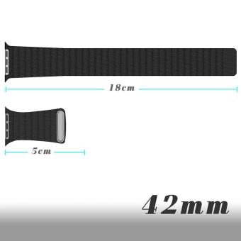 ... niceEshop 42mm Milanese Magnetic Loop Stainless Watch Band StrapLeather Loop For Apple Watch (Black)