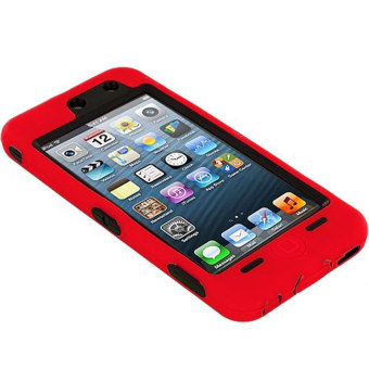 niceEshop Deluxe Hybrid Rugged Hard Soft Silicone Case for iPodTouch5 (Red) - 2 .