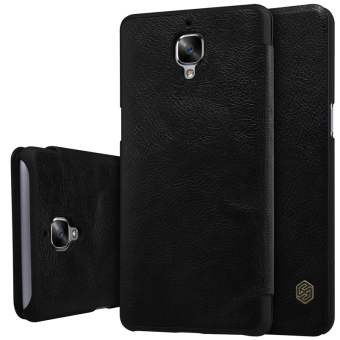 Nillkin Qin Series Leather Flip Shockproof Cover Case For ForOnePlus 3T / OnePlus 3 (Black) - intl Price Philippines