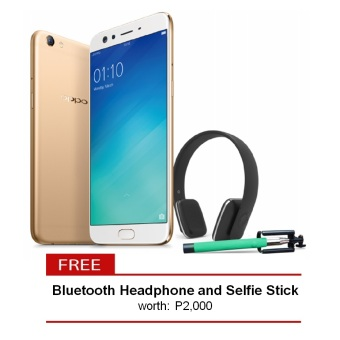 Oppo F3 Plus 64GB (Gold) with free Bluetooth Headphone and Selfie Stick