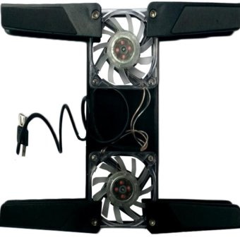 Optimax JT-A206 Dual Fan Laptop Cooling Fan Foldable (Black)