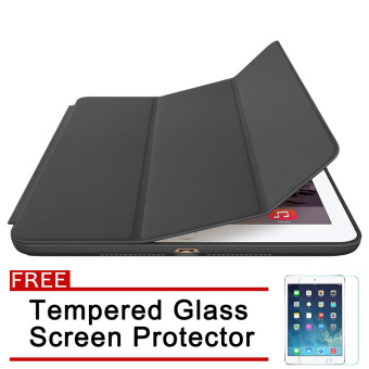 Original Type Auto Sleep Smart Cover for iPad Air 2 / iPad 6(Black) with Free Tempered Glass Screen Protector