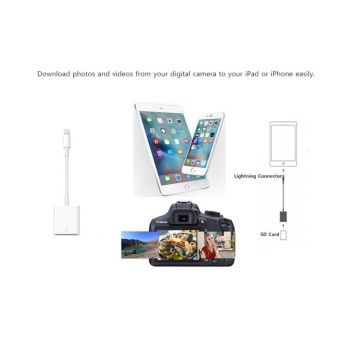 OTG SD Card Reader Digital Camera Reader Adapter Cable for iPhone5/6/7 and iPad White - intl - 4