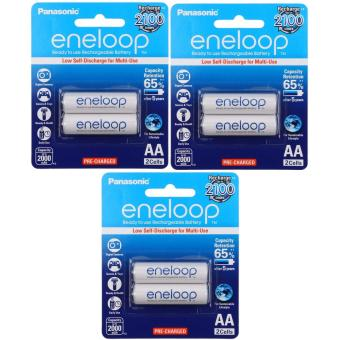 Panasonic eneloop BK 3MCCE 2BT AA Rechargeable Battery Pack of 2 (White) x3