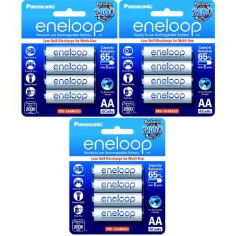 Panasonic eneloop BK 3MCCE 4BT AA Rechargeable Battery Pack of 4 (White) x3