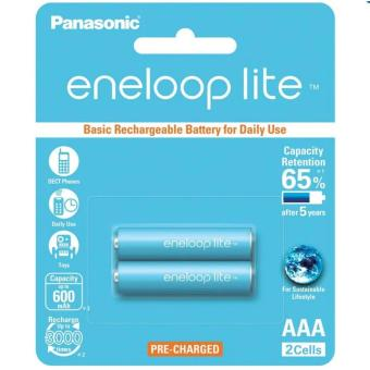 Panasonic Eneloop Lite BK-4LCCE-2BT AAA Rechargeable Battery Pack of 2 (Light Blue)