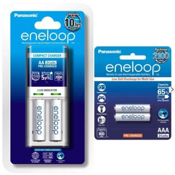 Panasonic eneloop Overnight Charger AA Bundled with AAA Pack of 2 (White)