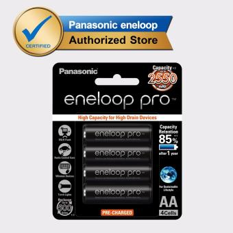 Panasonic Eneloop Pro BK 3HCCE 4BT AA Rechargeable Battery Pack of4 (Black)