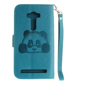 Panda Embossed Leather Magnetic Flip Cover For Asus ZenFone 2 LaserZE551KL 5.5 inch (Sky-blue) - intl - 4