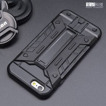 PC+ TPU Heavy Duty Armor Shockproof Hard Silicone Phone Case withStand for Apple iPhone 6 plus/6s Plus (black)
