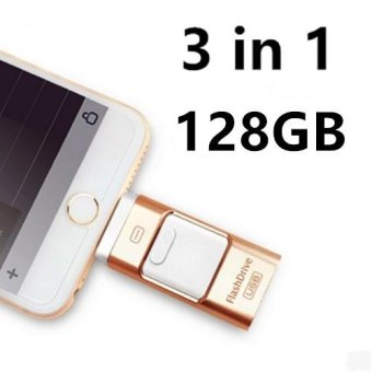 Pen Drive for Andorid/apple Iphone 6s USB Flash Drive 128gb USB Stick Andorid 4.5+ OTG Pendrive U Disk 3 In 1 Memory Stick USB 2.0(Gold) - intl