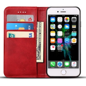 Phone Case For Apple Iphone 7 Plus Genuine Leather Card Slot Walletflip Cover full protection Cover - intl
