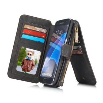 Phone Case For Samsung S7 Edge Premium Genuine Cow Leather Multi-function Card Slot Wallet flip Cover Skin - intl