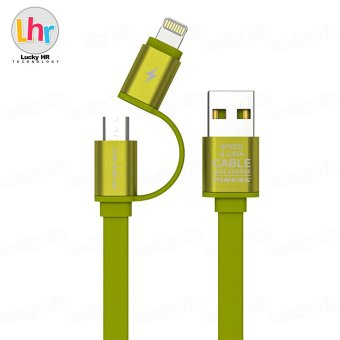 PINENG PN-304 2 in 1 Data and Charging Cable 1M for Samsung/iPhone (Green)
