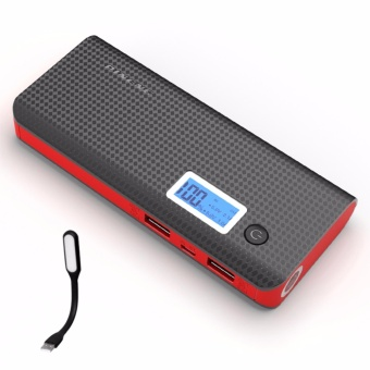 Pineng PN-968 10000mAh Power Bank (Black/Red) with USB LED Light (Color May Vary)