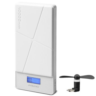 Pineng PN-983 10000mAh Power Bank (White) with 2 in 1 Portable Mini Micro USB Fan (Color May Vary)