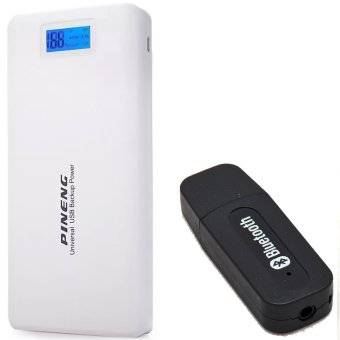Pineng PN-999 20000mAh Power Bank (White) with USB Music Receiver (Color May Vary)