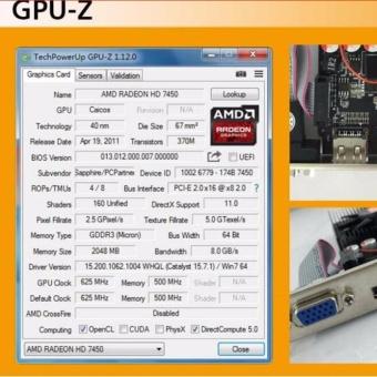 placa de video pci express graphics card PC game for Sapphire HD7450 1GB DDR3 64bit DVI+VGA+hdmi for ATI radeon - intl - 4
