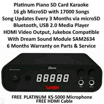 Platinum Piano 16gb SD Card Karaoke Player with 18000 Songs, Free Platinum KS-5000 Mic and Free HDMI Cable