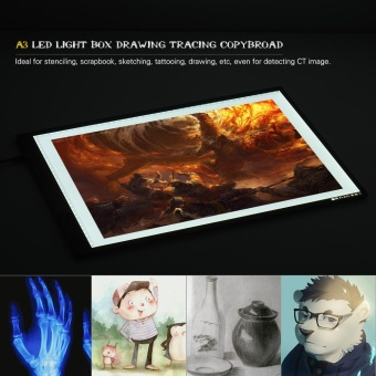 Portable A3 LED Light Box Drawing Tracing Tracer Copy Board Table Pad Panel Copyboard with Memory Function Stepless Brightness Control for Artist Animation Tattoo Sketching Architecture Calligraphy Stenciling - intl - 5