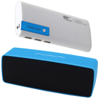 Portable Bluetooth Dual Speakers Ultra Bass (Blue) With Adamas AAA20000mah Power Bank Portable Power Battery Pack with Flashlight(White/Blue)