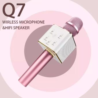 Portable Bluetooth Karaoke Mic Q7 for IOS/Android Devices(Pink/White)