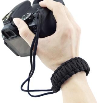Portable Camera Wrist Strap Paracord Adjustable Braided WristbandBracelet for Nikon Canon Sony Pentax Minolta Panasonic OlympusKodak SLR DSLR Digital Cameras Black - intl - 2