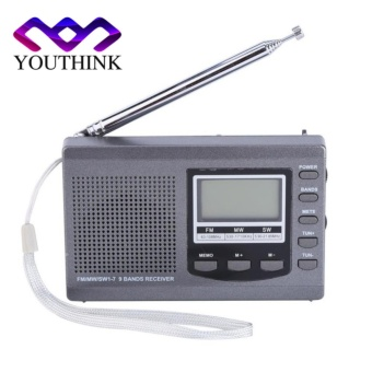 Portable Mini FM Radio Receiver with Digital Alarm Clock Grey -intl