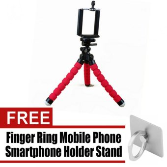 Portable Phone Holder Digital Camera 15CM Flexible Tripods OctopusStand for Camera/Smartphone (Red) with free 360 Degree Finger RingMobile Phone Smartphone Holder Stand for iPhone PDA MP4 Ebook(Silver)