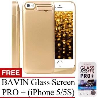 Power Case 2,200mAh Universal Rechargeable Backup Portable ChargerExternal Power Pack with Kickstand Holder for Apple iPhone SE5/5C/5S (Olympic Gold) with Free BAVIN Glass Screen Pro+