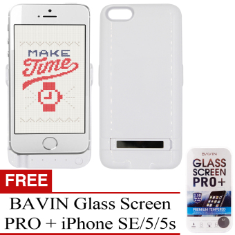 POWER CASE 4200 mAh Extended Power Bank Case for iPhone 5/5S/SE (Polar White) With BAVIN Glass Screen Pro+