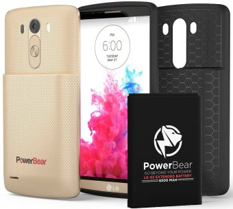 PowerBear 6500mAh Extended Battery with Back Cover and Protective Case for LG G3 (Gold)