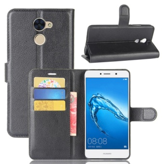 Premium Leather Flip Cover Wallet Phone Case for Huawei Y7 Prime -intl