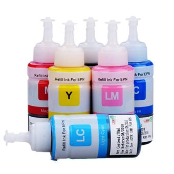 Printer Refill ink compatible for Epson L800 L805 L810 L850 L1800 Ink Tank Printer C/M/Y/BK/LM/LC (6 Color) - intl
