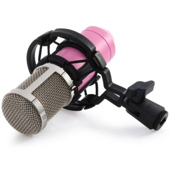 Professional BM-800 Condenser Microphone Studio Sound Speech Recording With Shock Mount for Radio Braodcasting (Pink)
