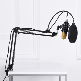 Professional Broadcasting Studio Recording Condenser Microphone MicKit with Shock Mount Adjustable Suspension Scissor Arm StandMounting Clamp Pop Filter - intl