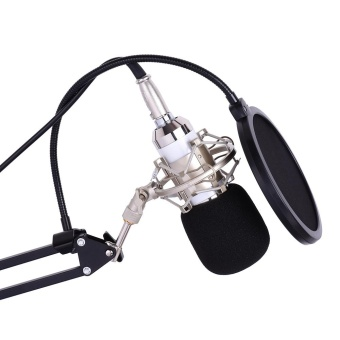 Professional Studio Broadcasting Recording Condenser Microphone Mic Kit Set 3.5mm with Shock Mount Adjustable Suspension Scissor Arm Stand Mounting Clamp Pop Filter Outdoorfree - intl - 3