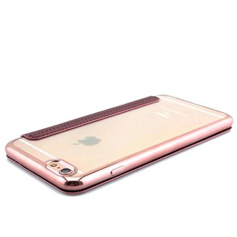 Protective Frosted Shell Transparent Side Colour Flip TPU andLeather Cover Case for iPhone 6 Plus / 6s Plus (Rose Gold) - 2