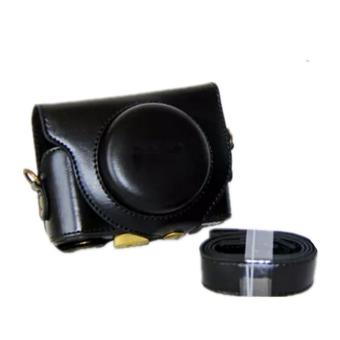 PU Leather Camera Bag Case Cover Pouch For SONY Cyber-shotDSC-HX90V HX90 WX500 with Shoulder strap (Black) - intl