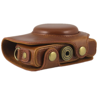 PU Leather Camera Case Bag Cover for Canon G7X 1 Digital with Strap (Brown)