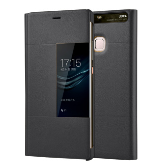 PU Leather Case Window View Flip Smart Cover for Huawei P9 (Grey)