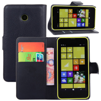 PU Leather Flip Cover Case For Microsoft Nokia Lumia 630 635(Black)