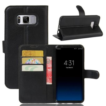 PU Leather Flip Cover Protection Case For Samsung Galaxy S8 Plus(Black)- Intl