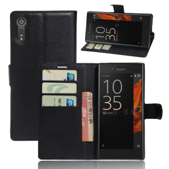 PU Leather Wallet Case Cover For Sony Xperia XZ (Black)
